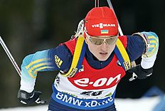 Ukraine's Valj Semerenko competes in the 7.5 km sprint women competition at the Biathlon World Cup event, in Pokljuka, Slovenia, Thursday, Dec. 18, 2014...