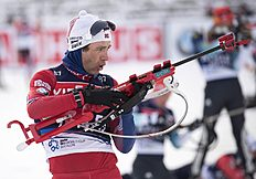 Ole Einar Bjoerndalen of Norway prepares for shooting during the men's training at the Biathlon World Cup in Oberhof, central Germany, Tuesday, Jan. 6,...