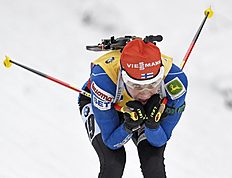 World Cup leader Kaisa Makarainen of Finland skis during the women's 7.5 kilometers sprint race at the Biathlon World Cup in Oberhof, central Germany,...