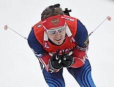 Third placed Timofey Lapshin of Russia skis during the men's 10 kilometers sprint race at the Biathlon World Cup in Oberhof, central Germany, Saturday,...