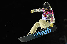 Snowboard (сноуборд): Kaitlyn Farrington competes in the Women's Snowboard halfpipe semi-finals, at the Rosa Khutor Extreme Park, during the Sochi Winter Olympics in Russia,...