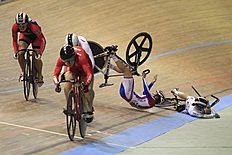 Gnidenko and Ward fall after a collision during the women's kerin at the UCI Track Cycling World Cup in Cali