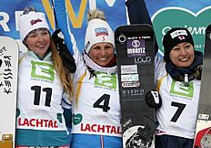 Austria's Claudia Riegler, center, celebrates her victory with runner up Russia's Alena Zavarzina, left and third placed Japan's Tomoka Takeuchi, at the...