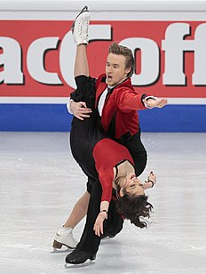 Elena Ilinykh and Ruslan Zhiganshin, of Russia, skate their short dance during the European Figure Skating championships in Stockholm, Sweden, on Wednesday,...