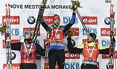 FIS_Nove Mesto (Czech Republic), 07/02/2015.- (L-R) Second placed Simon Schempp of Germany, first placed Jakov Fak of Slovenia and third placed Jean...