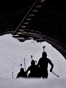 FIS_Nove Mesto (Czech Republic), 08/02/2015.- Competitors pass a tunnel during the Women's 10km pursuit race at the Biathlon World Cup in Nove Mesto,...