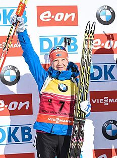 FIS_Nove Mesto (Czech Republic), 08/02/2015.- Second placed Kaisa Makarainen of Finland celebrates on the podium after the Women's 10km pursuit race...