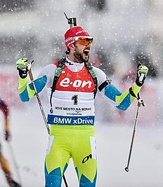 FIS_Nove Mesto (Czech Republic), 08/02/2015.- First placed Jakov Fak of Slovenia celebrates while crossing the finish line during the Men's 12,5km...