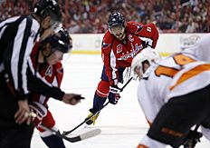 ������ � ������: Washington Capitals left wing Alex Ovechkin (8), from Russia, waits for a face off in the first period of an NHL hockey game against the Philadelphia Flyers,...
