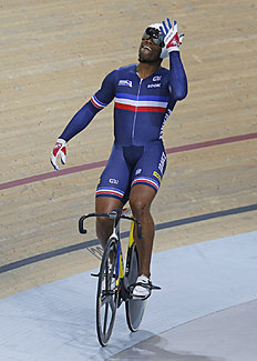 Gregory Bauge of France, reacts after he win the final of the Men's Sprint race at the Track Cycling World Championships in Saint-Quentin-en-Yvelines,...