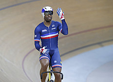 Gregory Bauge of France reacts after he win the final of the Men's Sprint race at the Track Cycling World Championships in Saint-Quentin-en-Yvelines, outside...