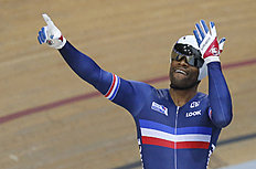 Gregory Bauge of France, reacts after he won the final of the Men's Sprint race at the Track Cycling World Championships in Saint-Quentin-en-Yvelines,...