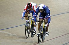 France's Gregory Bauge and Russia's Denis Dmitriev compete in the Men's Sprint finals at the UCI Track Cycling World Cup in Saint-Quentin-en-Yvelines,...