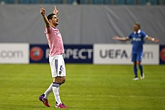Anderlecht's Aleksandar Mitrovic celebrates after scoring against Dinamo Moscow during their Europa League Round of 32 second leg soccer match at the Arena...