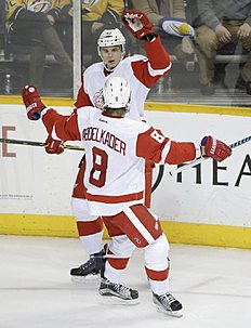 ������ � ������: Detroit Red Wings defenseman Alexei Marchenko (47), of Russia, celebrates with Justin Abdelkader (8) after Marchenko scored a goal against the Nashville...