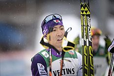 Akito Watabe of Japan celebrates after winning the Nordic Combined Individual Gundersen 10 km cross country skiing in the FIS World Cup Ski Games in Lahti...