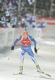 . Kontiolahti (Finland), 07/03/2015.- Kaisa Maekaeraeinen of Finland in action during the Women 7,5 Km Sprint at the IBU World Cup Biathlon in Kontiolahti...
