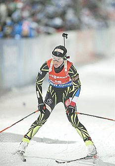 . Kontiolahti (Finland), 07/03/2015.- French Marie Dorin Habert in action during the Women 7,5 Km Sprint at the IBU World Cup Biathlon in Kontiolahti...