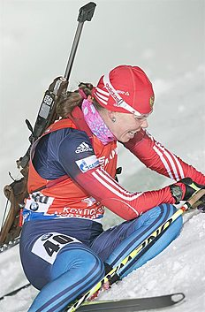 . Kontiolahti (Finland), 07/03/2015.- Ekaterina Shumilova of Russia in action during the Women 7,5 Km Sprint at the IBU World Cup Biathlon in Kontiolahti...