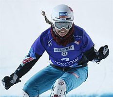 Snowboard (сноуборд): MOS. Moscow (Russian Federation), 07/03/2015.- Fist place winner Claudia Riegler of Austria reacts finishing during the Ladies Parallel Slalom competition...