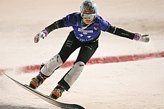 Snowboard (сноуборд): Moscow (Russian Federation), 07/03/2015.- Second place winner Julie Zogg of Switzerland performs during the Ladies Parallel Slalom competition at...