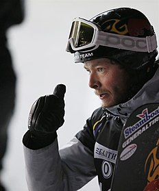 Snowboard (сноуборд): MOS. Moscow (Russian Federation), 07/03/2015.- Fist place winner Justin Reiter of US reacts after his victory during the men's Parallel Slalom competition...