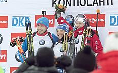 Kontiolahti (Finland), 08/03/2015.- Victorious Lesser Erik (C) of Germany is flanked by second-placed Anton Shipulin (L) of Russia and third-placed...