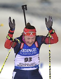 Winner Russia's Ekaterina Yurlova reacts at finish line during the women's Individual 15km competition during IBU Biathlon World Championships in Kontiolahti...