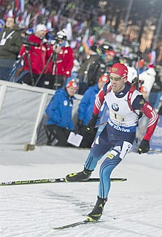 Kontiolahti (Finland), 14/03/2015.- Dmitry Malyshko of Russia in action during the mens 4x7,5 km relay at the Biathlon World Championships in Kontiolahti,...