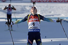 Winner Valj Semerenko of Ukraine after the finish of the Mass Start Women 12,5 km at the IBU Biathlon World Championships in Kontiolahti, Finland, Sunday...