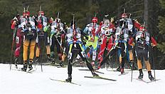 Khanty-mansiysk (Russian Federation), 22/03/2015.- Athletes in action during the Men's 15 km Mass Start race at theIBU Biathlon World Cup final in...