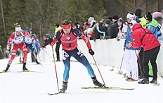 Khanty-mansiysk (Russian Federation), 22/03/2015.- Second placed Anton Shipulin of Russia in action during the Men's 15 km Mass Start race at theIBU...