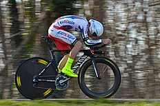 Russia's Sergey Chernetski competes during the individual time-trial and prologue of the 73rd edition of the Paris-Nice cycling race, on March 8, 2015,...