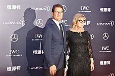Russia's national soccer team coach Fabio Capello poses with his wife Laura on the red carpet as they arrive for the Laureus World Sports Awards 2015 in...