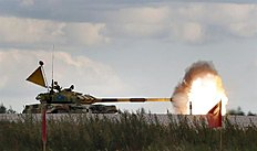 �������� �������. Moscow (Russian Federation), 15/08/2015.- The tank T-72 B of Serbia team competes during the Tank Biathlon World Championship 2015 in Alabino outside...
