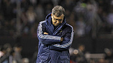 Argentina's coach Gerardo Martino stands on the sidelines during a 2018 Russia World Cup qualifying soccer match against Ecuador in Buenos Aires, Argentina,...