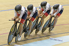 United Kingdom's pursuit team, from left to right, Elinor Barker, Laura Trott, Joanna Rowsell and Katie Archibald, in action as they compete in the Womens's...