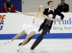 Yanovskaya and Mozgov of Russia perform during the ice dance short program at the Skate America figure skating competition in Milwaukee