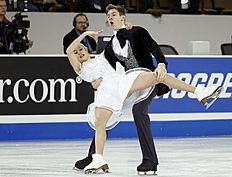Yanovskaya and Mozgov of Russia lose their balance as they perform during the ice dance short program at the Skate America figure skating competition in...