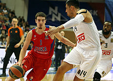 MOSCOW, RUSSIA — JANUARY 07: Nando De Colo, #1 of CSKA Moscow competes with Gustavo Ayon, #14 of Real Madrid in action during the Turkish Airlines Euroleague Basketball Top 16 Round 2 game between CSKA Moscow v Real Madrid at USH CSKA on January 7, 2016 in Moscow, Russia.