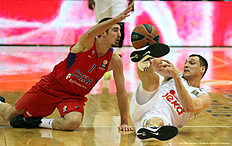 MOSCOW, RUSSIA — JANUARY 07: Jonas Maciulis, #8 of Real Madrid competes with Nando De Colo, #1 of CSKA Moscow in action during the Turkish Airlines Euroleague Basketball Top 16 Round 2 game between CSKA Moscow v Real Madrid at USH CSKA on January 7, 2016 in Moscow, Russia.