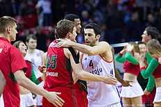 KRASNODAR, RUSSIA — JANUARY 08: Ryan Broekhoff, #45 of Lokomotiv Kuban Krasnodar and Dogus Balbay, #4 of Anadolu Efes Istanbul after the Turkish Airlines Euroleague Basketball Top 16 Round 2 game between Lokomotiv Kuban Krasnodar v Anadolu Efes Istanbul at Basket Hall on January 8, 2016 in Krasnodar, Russia.