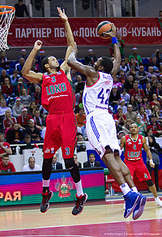 KRASNODAR, RUSSIA — JANUARY 08: Bryant Dunston, #42 of Anadolu Efes Istanbul competes with Anthony Randolph, #3 of Lokomotiv Kuban Krasnodar during the Turkish Airlines Euroleague Basketball Top 16 Round 2 game between Lokomotiv Kuban Krasnodar v Anadolu Efes Istanbul at Basket Hall on January 8, 2016 in Krasnodar, Russia.