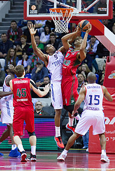 KRASNODAR, RUSSIA — JANUARY 08: Anthony Randolph, #3 of Lokomotiv Kuban Krasnodar competes with Derrick Brown, #5 of Anadolu Efes Istanbul during the Turkish Airlines Euroleague Basketball Top 16 Round 2 game between Lokomotiv Kuban Krasnodar v Anadolu Efes Istanbul at Basket Hall on January 8, 2016 in Krasnodar, Russia.