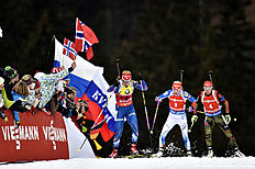 RUHPOLDING, GERMANY — JANUARY 9: (FRANCE OUT) Laura Dahlmeier of Germany takes 1st place, Gabriela Soukalova of the Czech Republic takes 2nd place, Kaisa Makarainen of Finland competes during the IBU Biathlon World Cup Men's and Women's Pursuit on January 9, 2016 in Ruhpolding, Germany.