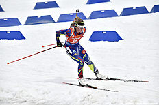 RUHPOLDING, GERMANY — JANUARY 9: (FRANCE OUT) Marie Dorin Habert of France competes during the IBU Biathlon World Cup Men's and Women's Pursuit on January 9, 2016 in Ruhpolding, Germany.