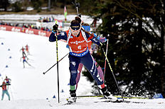 RUHPOLDING, GERMANY — JANUARY 9: (FRANCE OUT) Dorothea Wierer of Italy takes 3rd place during the IBU Biathlon World Cup Men's and Women's Pursuit on January 9, 2016 in Ruhpolding, Germany.