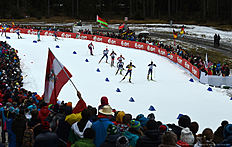 Athletes compete during the men 15 kilometer mass start competition at the Biathlon World Cup on January 10, 2016 in Ruhpolding, southern Germany.nFrench Martin Fourcade won the competition, Czech Ondrej Moravec placed second and Norwegian Tarjei Boe placed third. / AFP / Christof STACHE