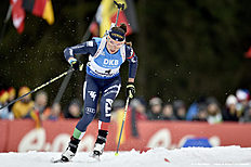 RUHPOLDING, GERMANY — JANUARY 10: (FRANCE OUT) Dorothea Wierer of Italy competes during the IBU Biathlon World Cup Men's and Women's Mass Start on January 10, 2016 in Ruhpolding, Germany.