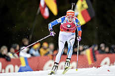 RUHPOLDING, GERMANY — JANUARY 10: (FRANCE OUT) Kaisa Makarainen of Finland competes during the IBU Biathlon World Cup Men's and Women's Mass Start on January 10, 2016 in Ruhpolding, Germany.